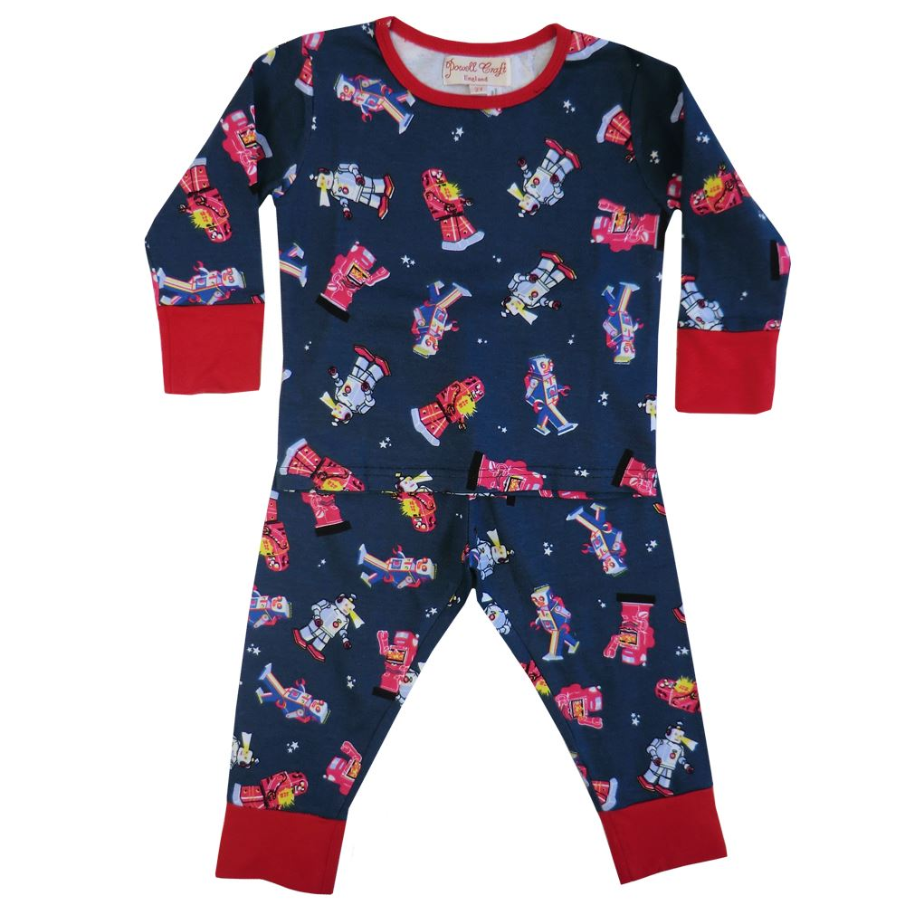 100% Cotton Knit Pyjamas - Beautifully Soft - Robots - Powell Craft - Ages 1-9