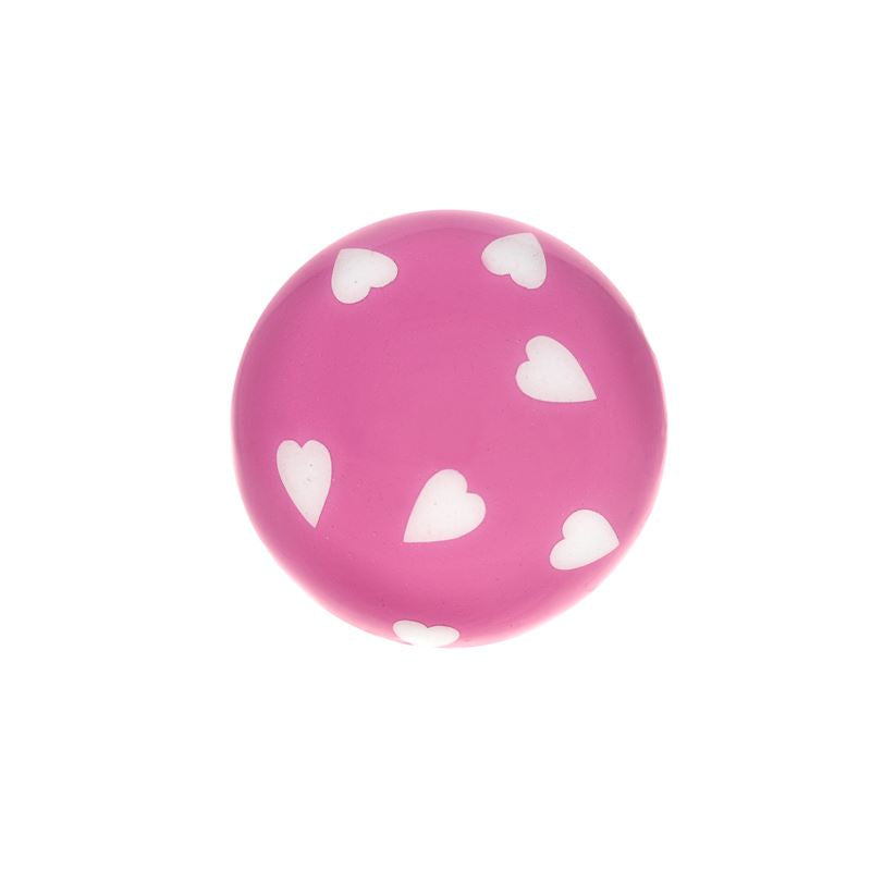 Bombay Duck - Hearts Cupboard/Drawer Door Knob - Pink with White Hearts