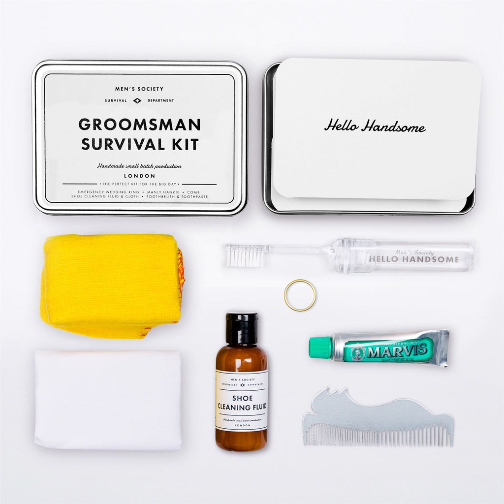 Men's Society - Groomsman Survival Kit - Wedding Ring/Hankie/Comb/Shoe Cleaner/Toothbrush/Paste