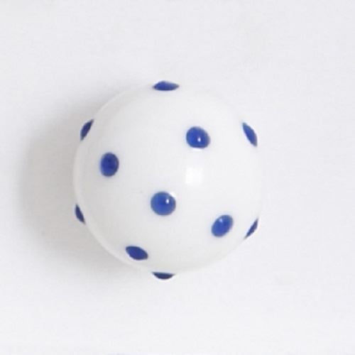 Bombay Duck - Opaque Glass Cupboard/Drawer Door Knob - White with Blue Spots