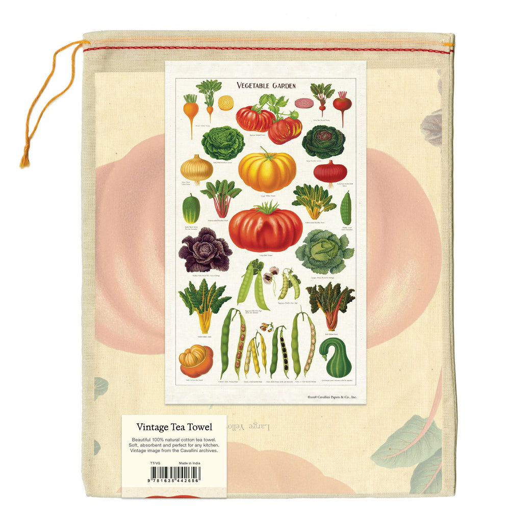 Cavallini - 100% Natural Cotton Vintage Tea Towel - 80 x 47cms - Vegetable Garden