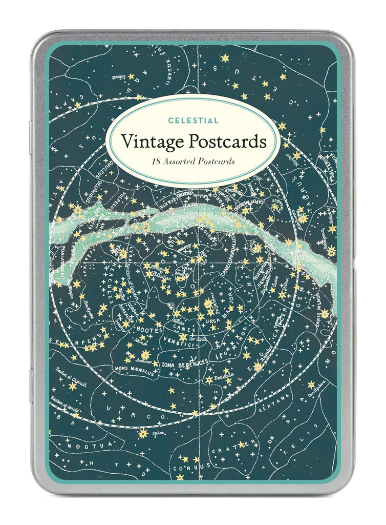 Cavallini - Carte Postale - Celestial - Tin of 18 Postcards - 9 Designs/2 Per Design