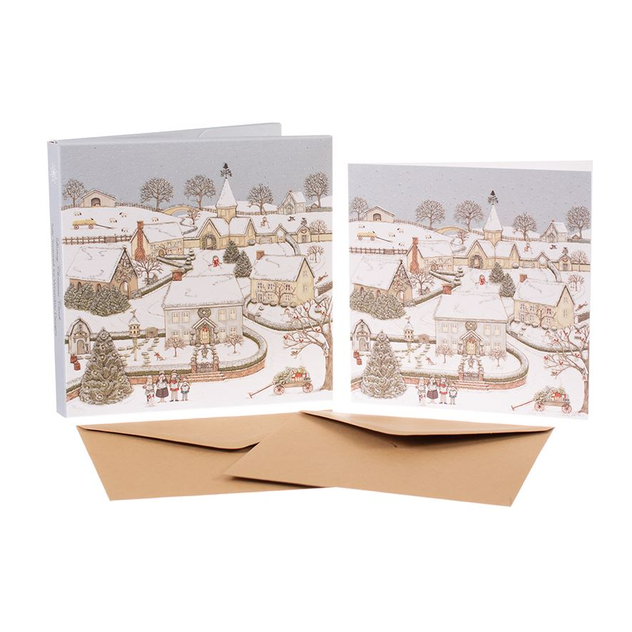 Snowy Village - Christmas Card Box Set - 8 Luxury Cards & Envelopes - Sally Swannell
