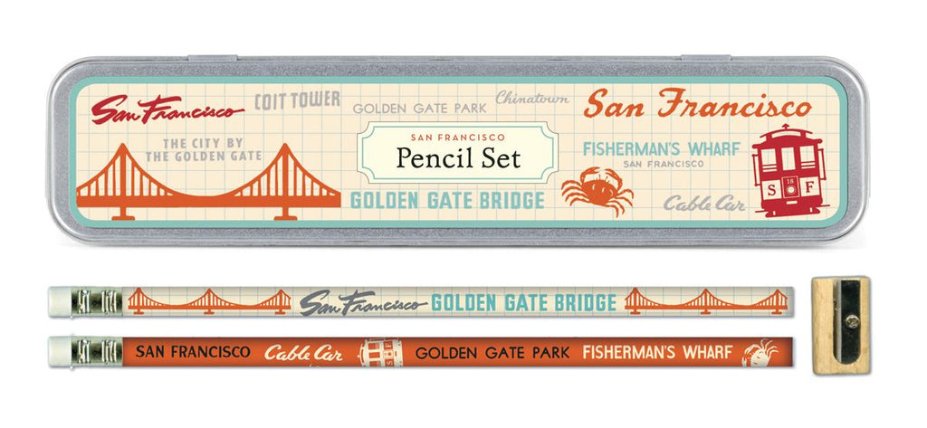 Cavallini - Tin of Pencils - San Francisco - 10 Pencils/2 Designs, & Sharpener