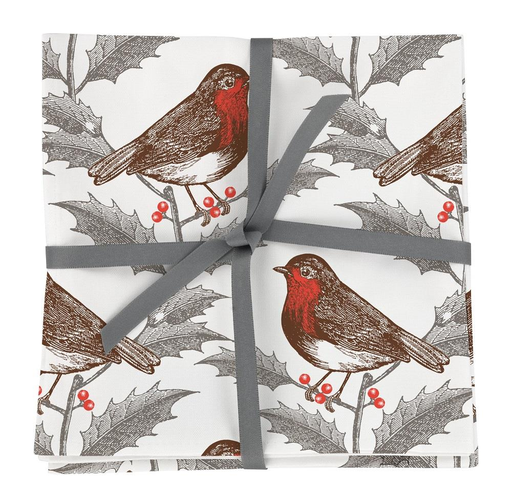 Thornback & Peel - 100% Cotton Napkins - Set of 4 - 45 x 45cms - Robin & Christmas Holly