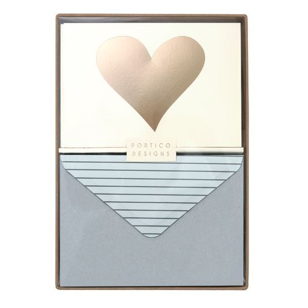 Heart Card Set - 10 x Blank Note Cards & Matching Envelopes
