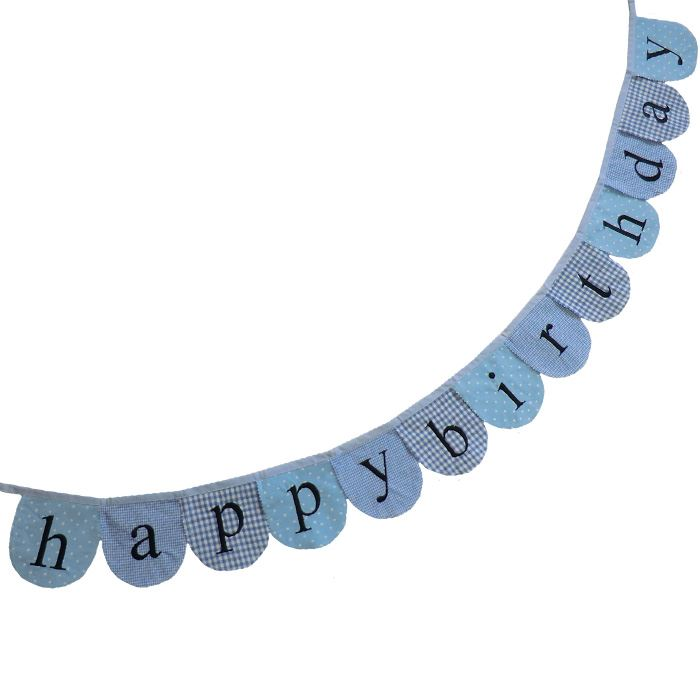 Bunting - Happy Birthday - Blue - 2m - Powell Craft