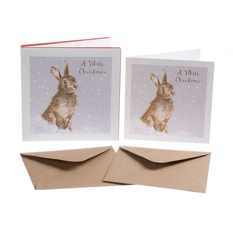 White Christmas - Rabbit Christmas Card Box Set - 8 Luxury Gold Foiled Cards & Envelopes