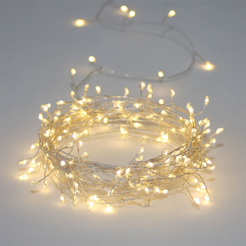 Silver Cluster - 300 LED Indoor/Outdoor Light Chain 15m - Mains Powered