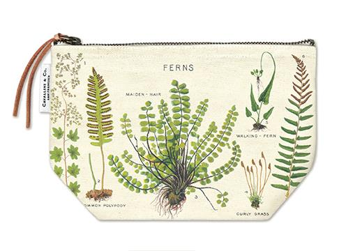 Cavallini - 100% Natural Cotton Vintage Pouch Bag - 15x22cms - Ferns