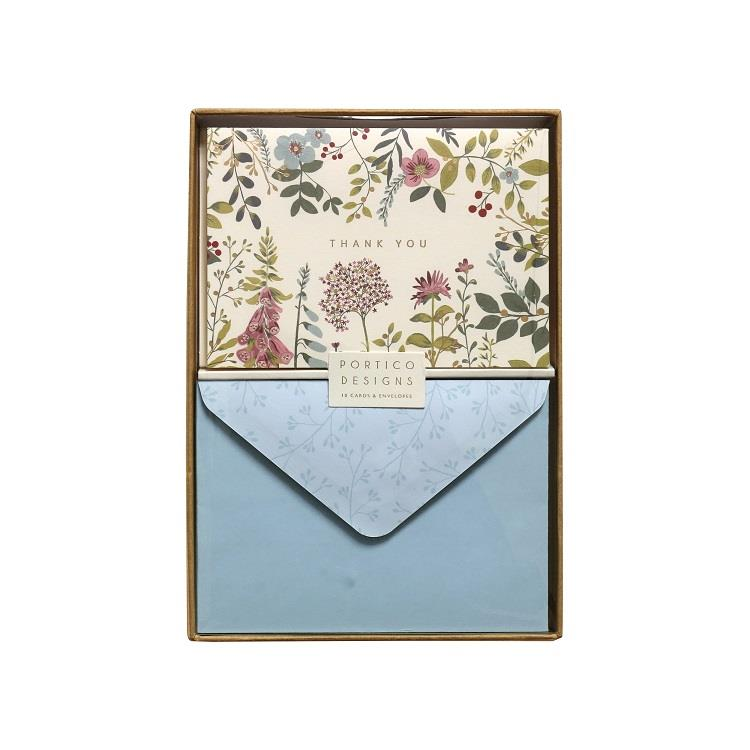 Meadow Thank You Notecard Set - 10 Blank Note Cards & Matching Envelopes - Portico Designs
