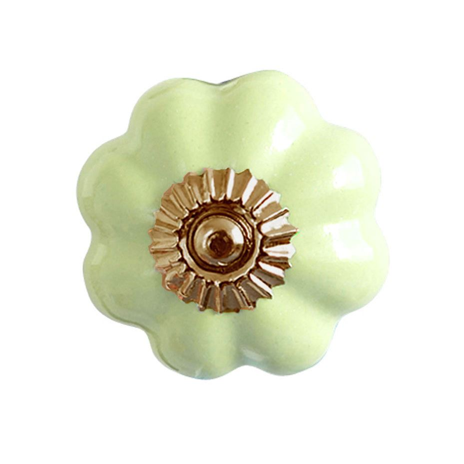 Bombay Duck - Plain Flower Ceramic Cupboard/Drawer Door Knob - Green