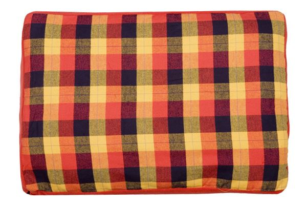 Creature Clothes - Dog Bed Cover - Autumn Check/Red Fleece - Handmade in the UK - 55x80x10cms Fits A Folded Single Duvet