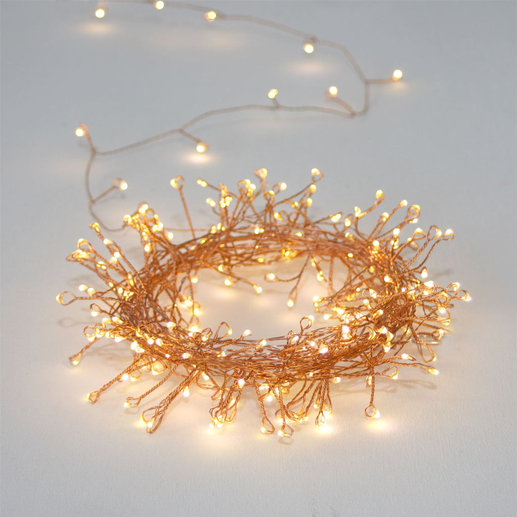 Copper Cluster - 300 LED Indoor/Outdoor Light Chain 15m - Mains Powered