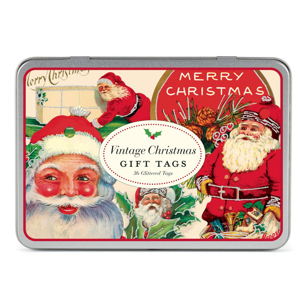 Cavallini - Tin of 36 Glittered Gift Tags - Vintage Christmas - Santa (HOLVIN)