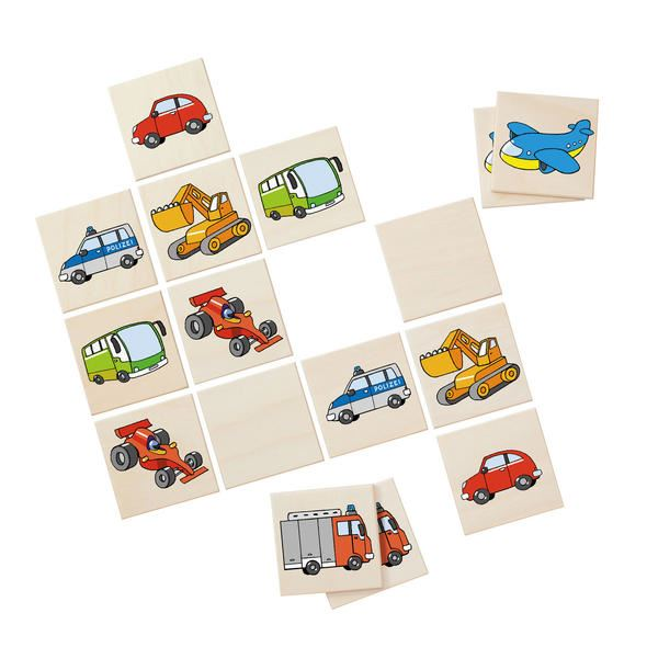 Classic Memo Card Game - Vehicles - Wooden Toddler Puzzle Toy - me by Selecta