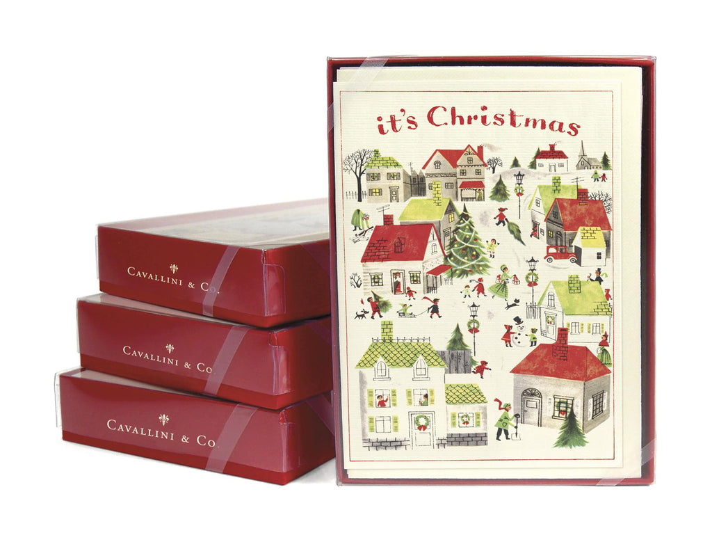 Cavallini - 10 x Glitter Village Christmas Cards/Notes - It's Christmas