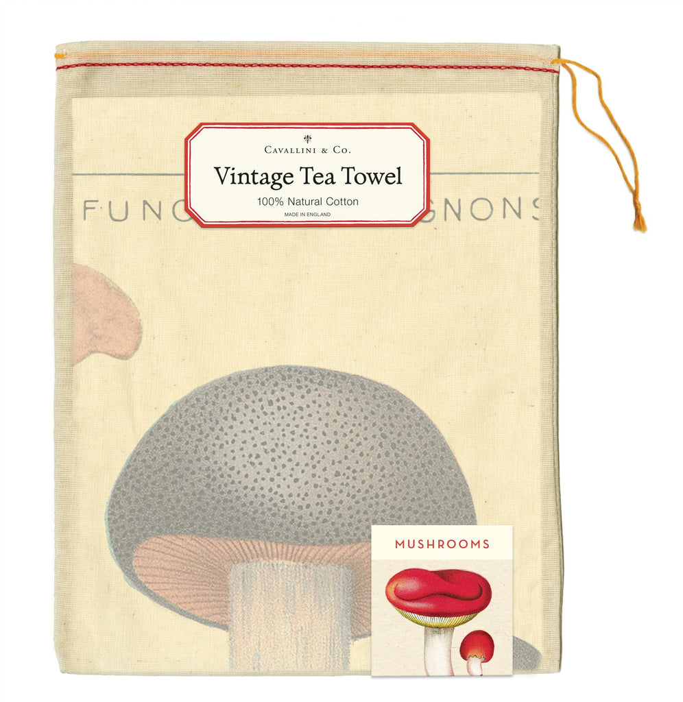 Cavallini - 100% Natural Cotton Vintage Tea Towel - 80 x 47cms - Mushrooms/Champignons/Fungi