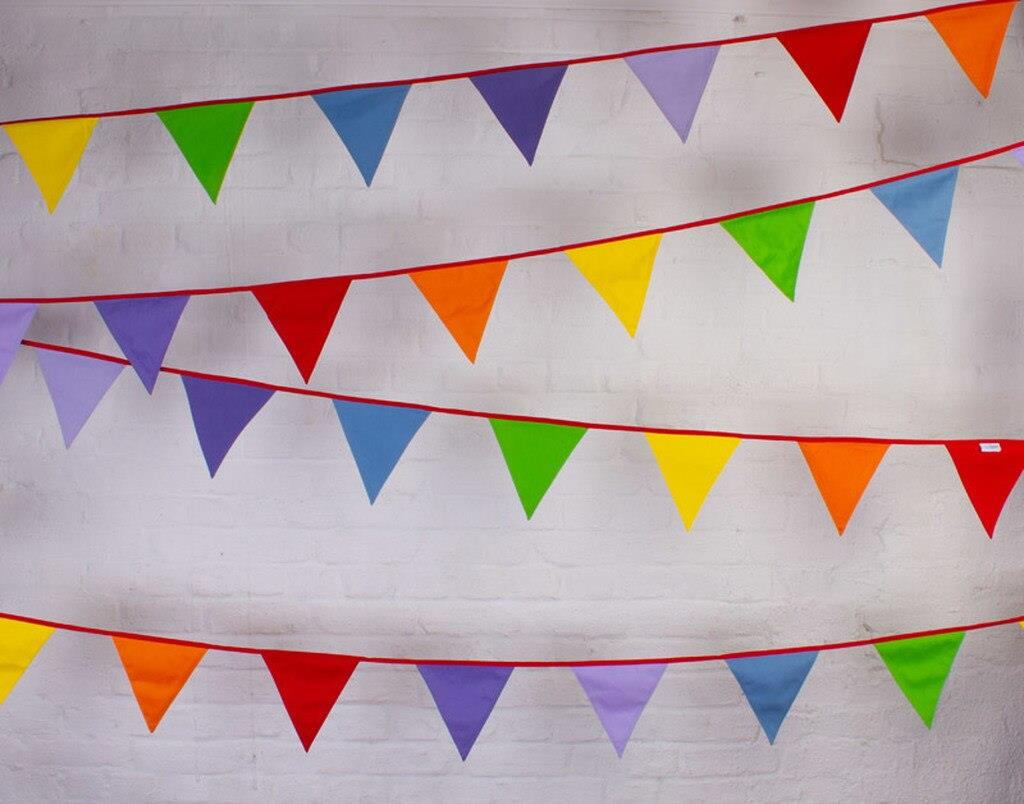 100% Cotton Bunting - Multi-Coloured Rainbow Carnival - 10m/33 Double Sided Flags - The Cotton Bunting Company