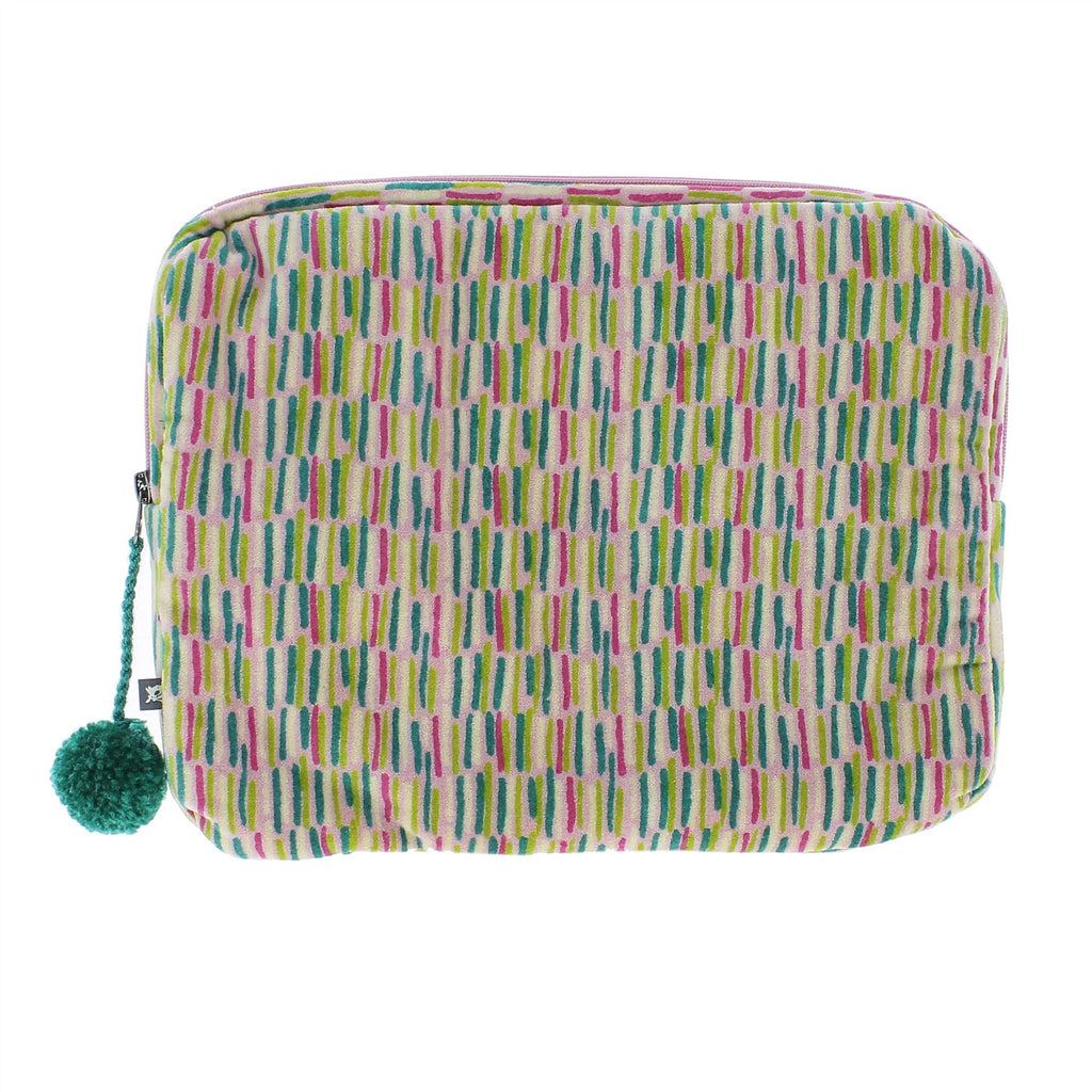 Fiona Walker iPad/Tablet Case - Velour With Pom Pom Zip - Available in Blue, Green or Pink