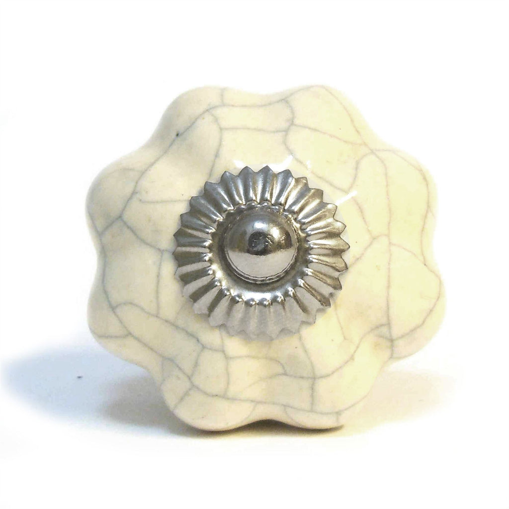 Ceramic Cupboard/Drawer Flower Door Knob - Cream Crackled Effect (P29)