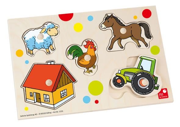 Farm Puzzle - Wooden Baby Jigsaw Toy - me by Selecta