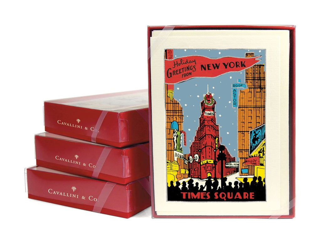 Cavallini - 10 x Glitter Greetings Christmas Cards/Notes - New York City Times Square