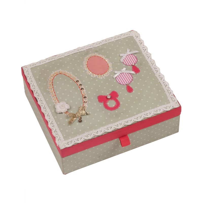 Bombay Duck - Button Girl - Embellished Jewellery Box - Green With Spots & Lace
