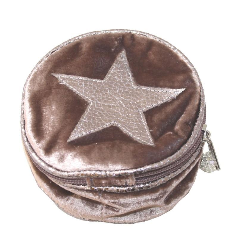 Lua - Round Velvet Jewellery Pouch With Appliqued Star - 4 Colour Options