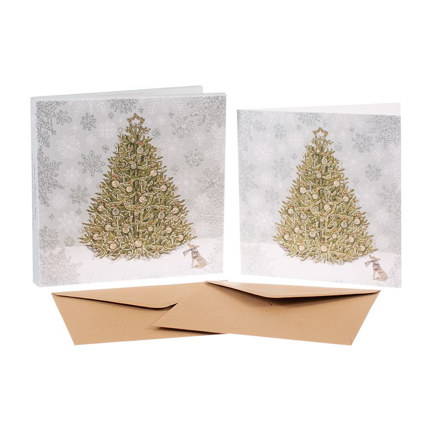 Christmas Tree  - Christmas Card Box Set - 8 Luxury Cards & Envelopes - Sally Swannell