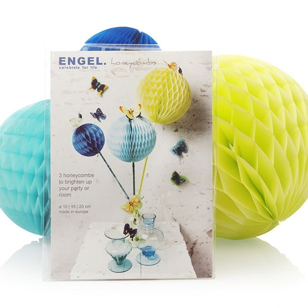 Spring - Large Colourful Honeycombs - Set of 3 (10, 15 & 20 cms) Blue/Turquoise/Yellow - Engelpunt/Life's A Party