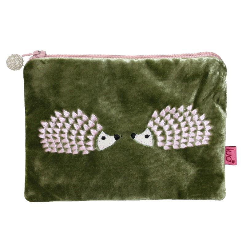Lua - Velvet Coin Purse With Embroidered Hedgehogs 11 x 16cms - 3 Colour Options
