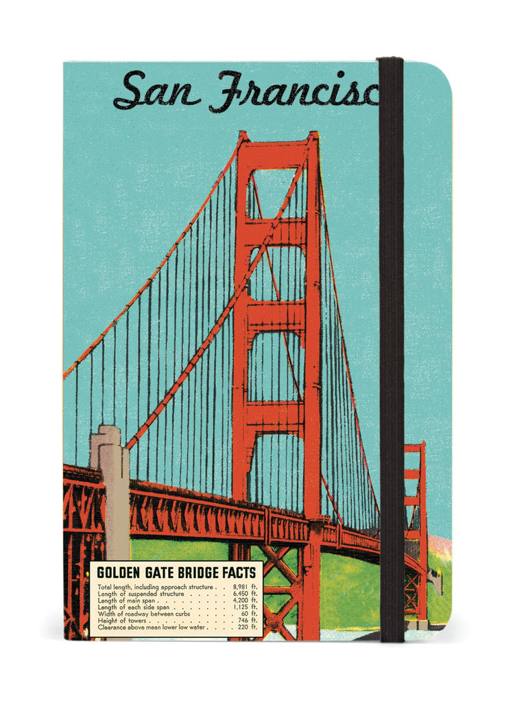 Cavallini - Small Lined Pocket Notebook 4x6ins - San Francisco - 256 Pages With Elastic Enclosure