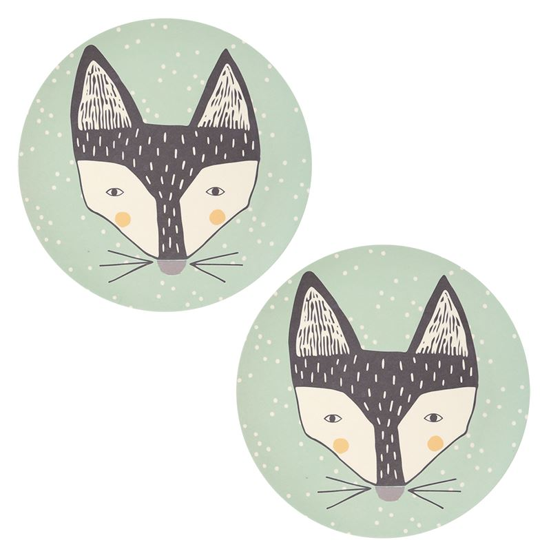 Love MAE - 2 x 25cms Large Bamboo Dinner Plates - Foxy