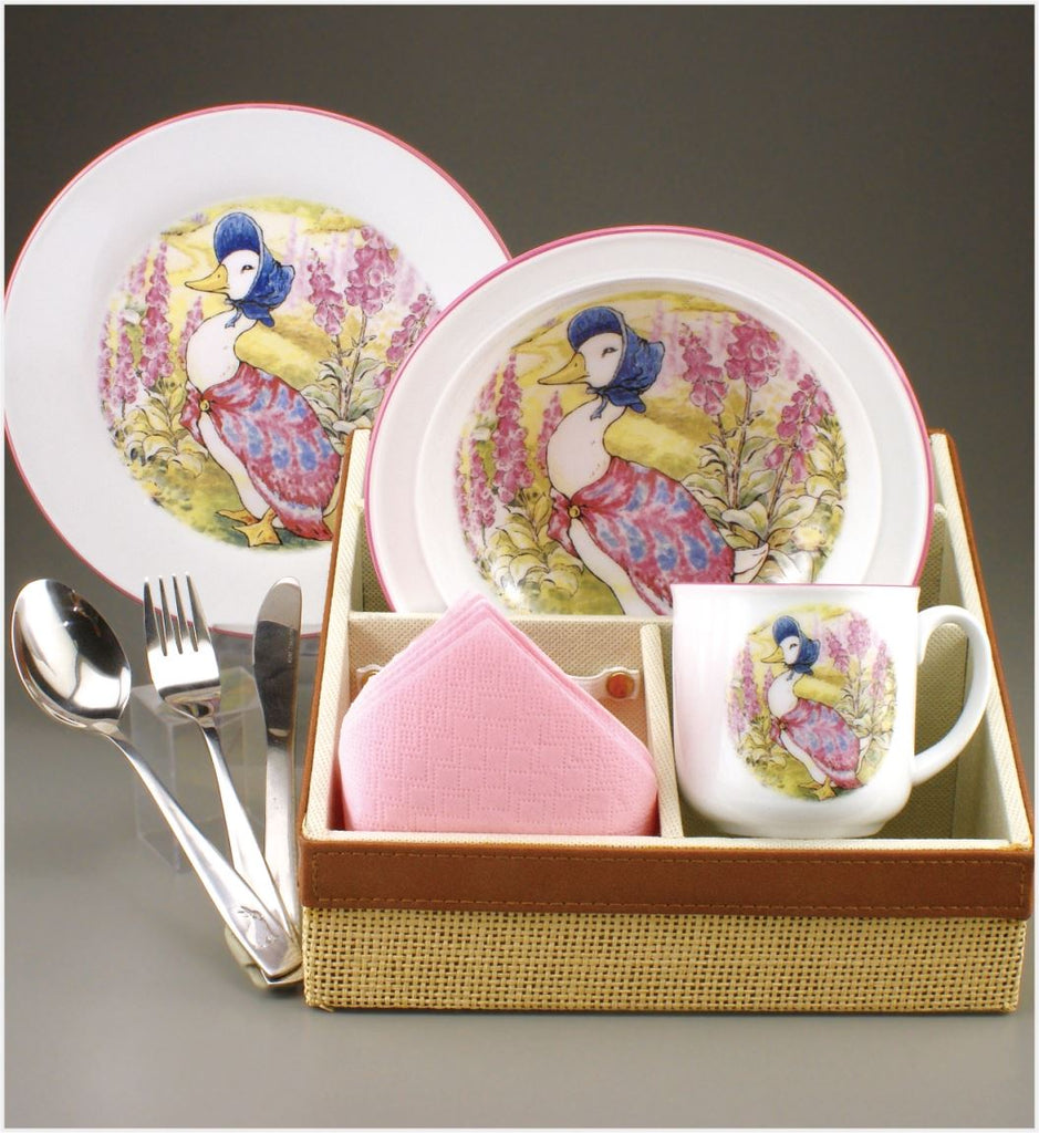 Jemima Puddleduck - Porcelain Breakfast Dining Set inc. Bowl, Mug, Plate & Cutlery by Reutter Porzellan - Perfect for New Born Baby, Christening or Naming Day Gift