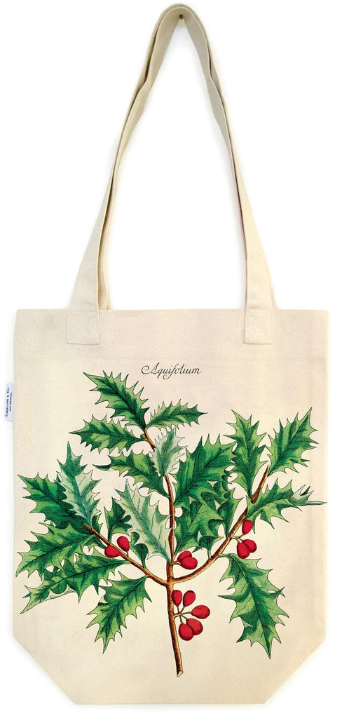 Cavallini - 100% Natural Cotton Vintage Tote Bag - 33x40.5cms - Christmas Holly