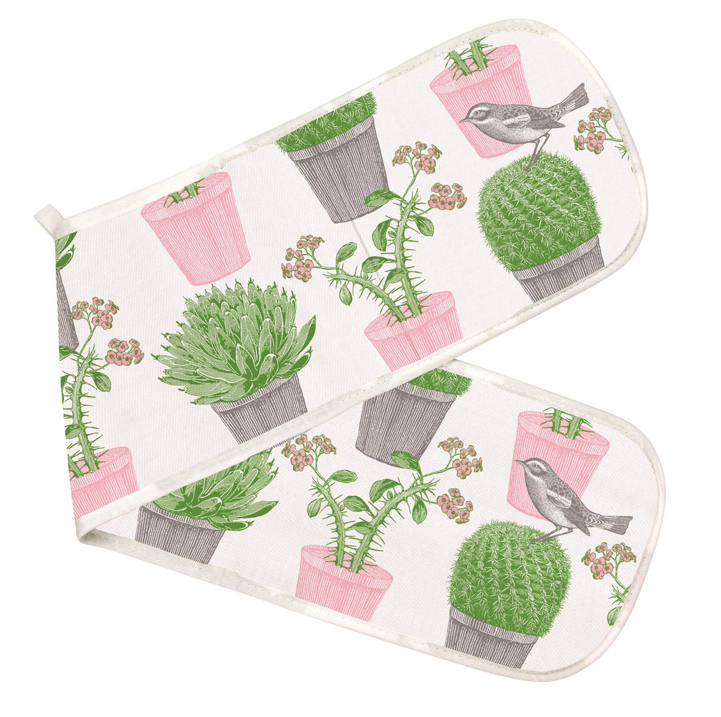 Thornback & Peel - 100% Cotton - Double Oven Glove/Mitt - Cactus & Bird