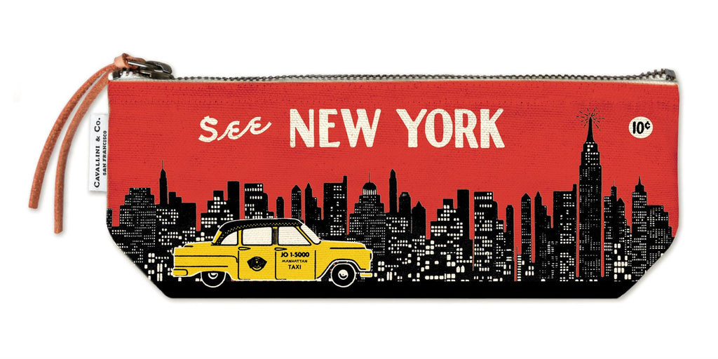 Cavallini - 100% Natural Cotton Vintage Mini Pouch Bag - 10x23cms - New York Skyline