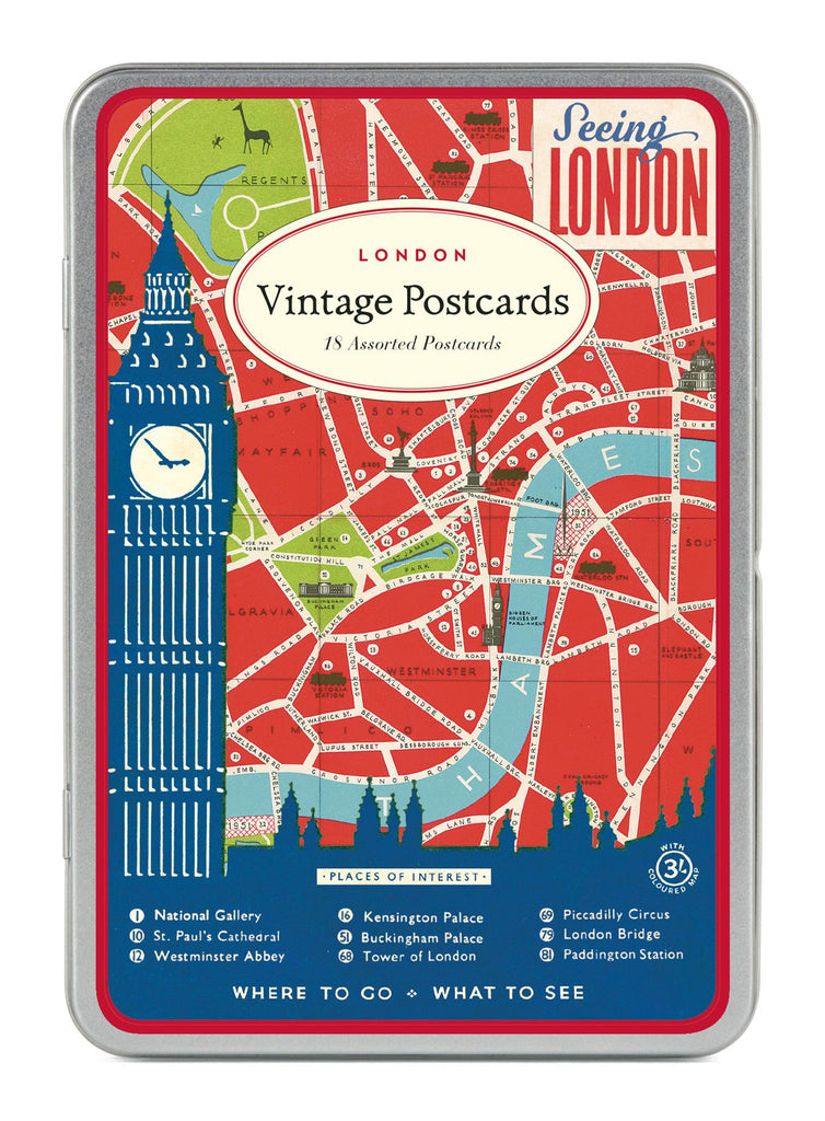 Cavallini - Carte Postale - London - Tin of 18 Postcards - 9 Designs/2 Per Design