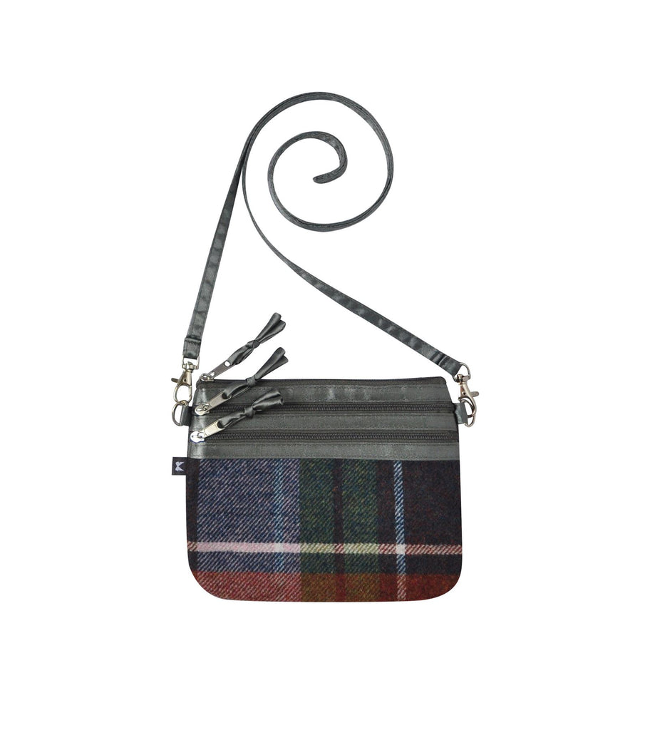 Earth Squared - Zip Pouch Bag - Tweed Wool - Damson - 19x15cms