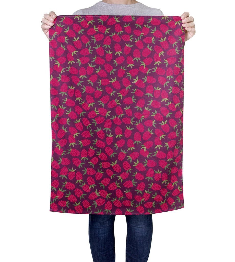 Raspberry Pattern - 100% Natural Cotton Tea Towel - 70 x 48cms - Joanne de Pace