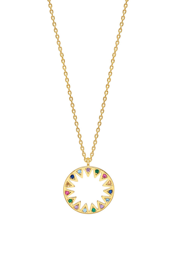 Rainbow Sunshine Cubic Zirconia Necklace - Gold Plated - Live As You Dream - Estella Bartlett