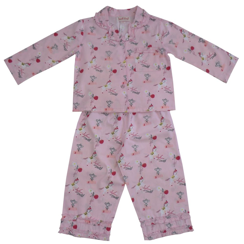 100% Cotton Longsleeve Pyjamas - Pink Pony Print  - Powell Craft - Ages 2-7