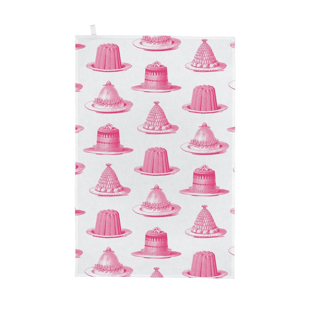 Thornback & Peel - 100% Cotton - Tea Towel - 47 x 77cms - Pink Jelly & Cake