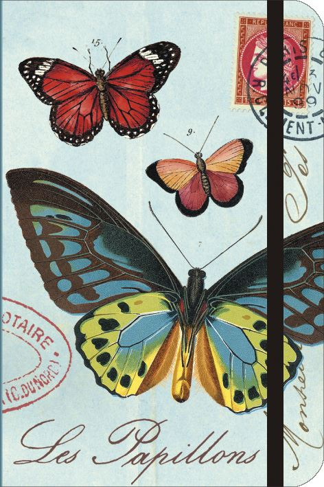 Cavallini - Small Lined Pocket Notebook 4x6ins - Les Papillions/Butterflies - 256 Pages With Elastic Enclosure