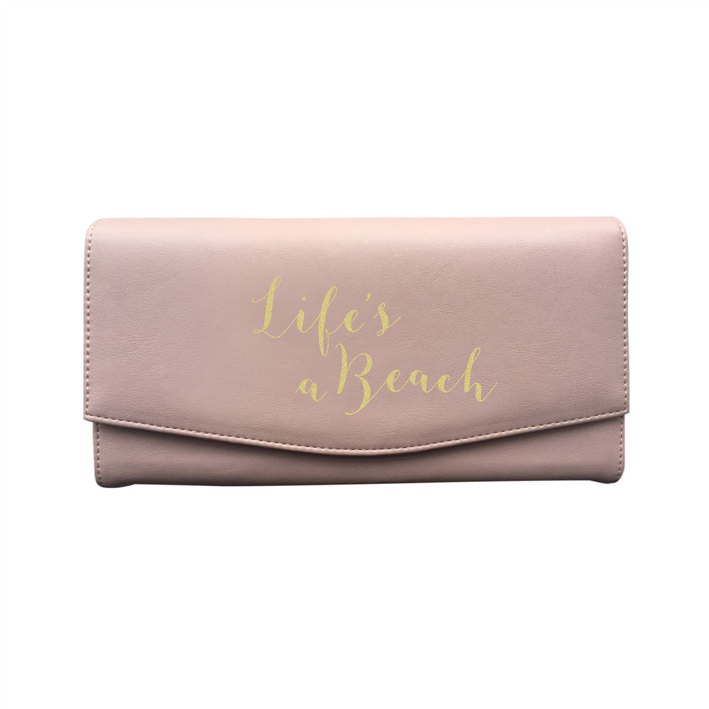 Bombay Duck - Life's A Beach - Soft Pink/Gold Travel Wallet - Printed Faux Leather
