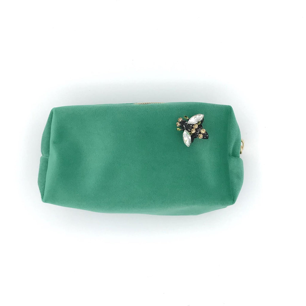 Marine Green Velvet Make-Up Bag & Bumblebee Pin - Sixton London - Small or Large