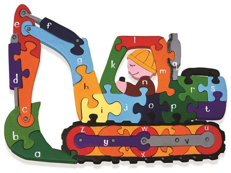 Alphabet Jigsaws - Wooden Digger A-Z Puzzle - Chunky, Bright & Educational - 30x20cms