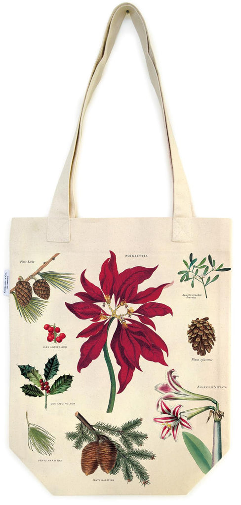 Cavallini - 100% Natural Cotton Vintage Tote Bag - 33x40.5cms - Christmas Botanicals