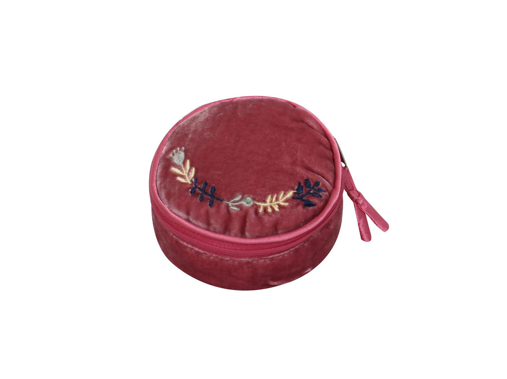 Earth Squared - Round Jewellery Pouch - Velvet  - Pink - 10x10x5cms